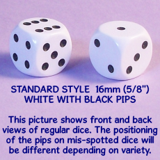 gallery standard style 16mm white dice
