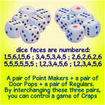 craps cheaters - set of 6 dice