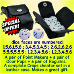 craps cheaters - set of 6 dice in a leather case