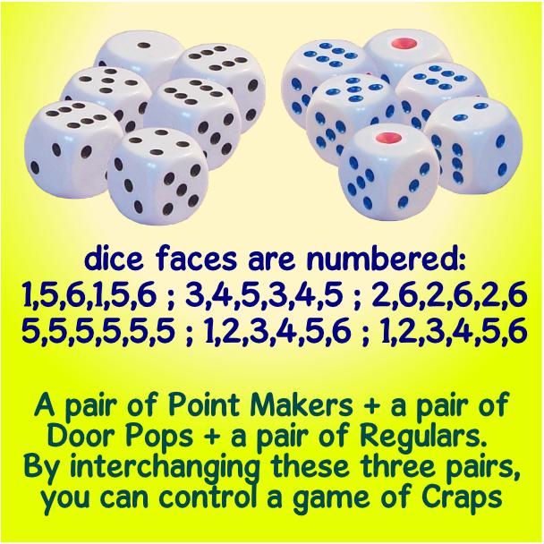 craps cheaters - set of 6 dice