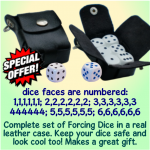 forcing dice (set of 6) in leather case